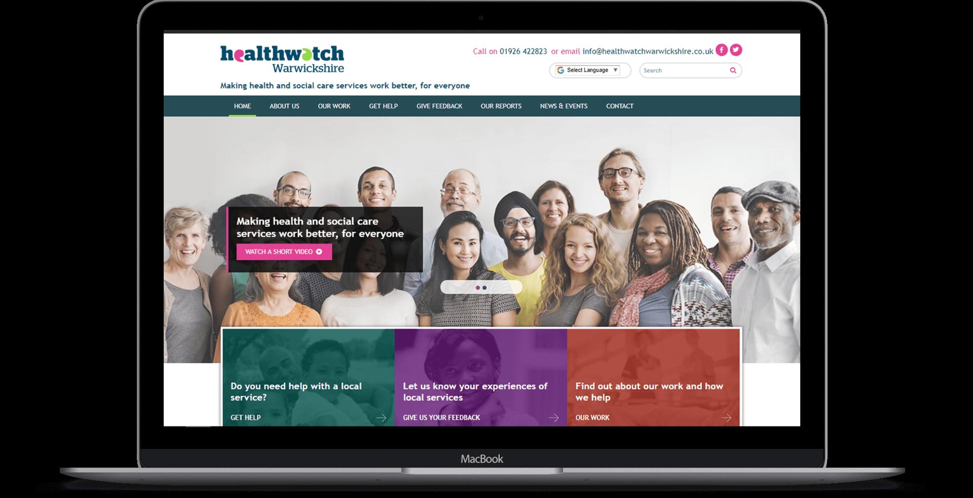 Healthwatch Warwickshire  - Website Re-design