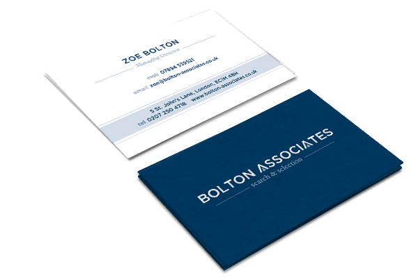 Warwickshire logo design branding service bright white space business card design for bolton associates reheart